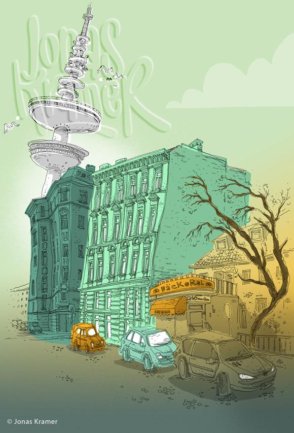 Fernsehturm Illustration - Telemichel Hamburg