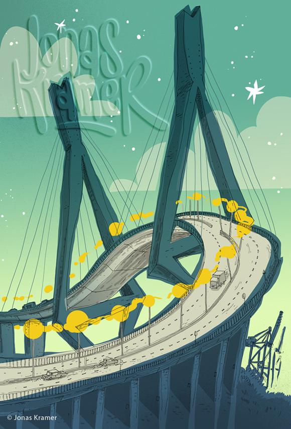 Köhlbrandbrücke Illustration - Hamburg