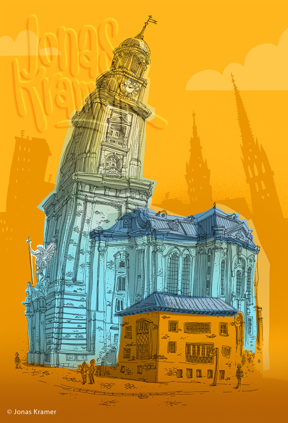 St. Michaelis Illustration - Hamburger Michel
