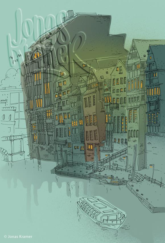 Nicolaifleet Hamburg - Illustration