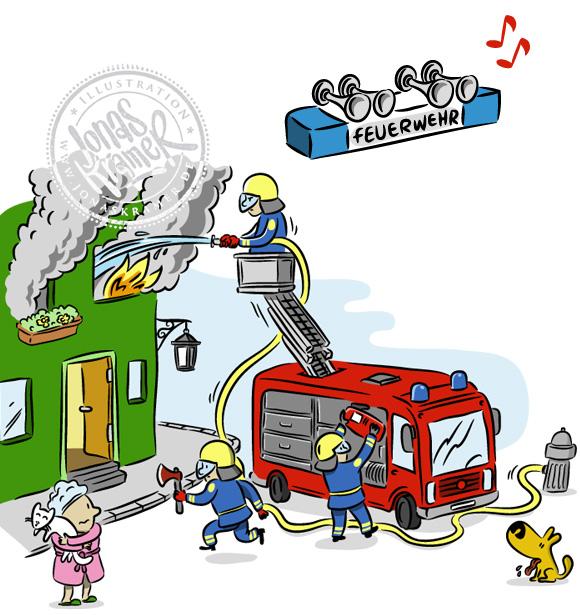 Illustration Feuerwehr Kinder