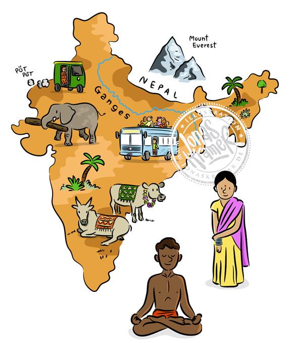 Illustration Indien Indienkarte Landkarte Kinder
